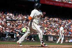 SAN FRANCISCO, CA - SEPTEMBER 17: Pablo Sandoval #48 of the San Francisco Giants hits a RBI sacrifice fly ball against the Arizona Diamondbacks during the fourth inning at AT&T Park on September 17, 2017 in San Francisco, California. The San Francisco Giants defeated the Arizona Diamondbacks 7-2. (Photo by Jason O. Watson/Getty Images) *** Local Caption *** Pablo Sandoval