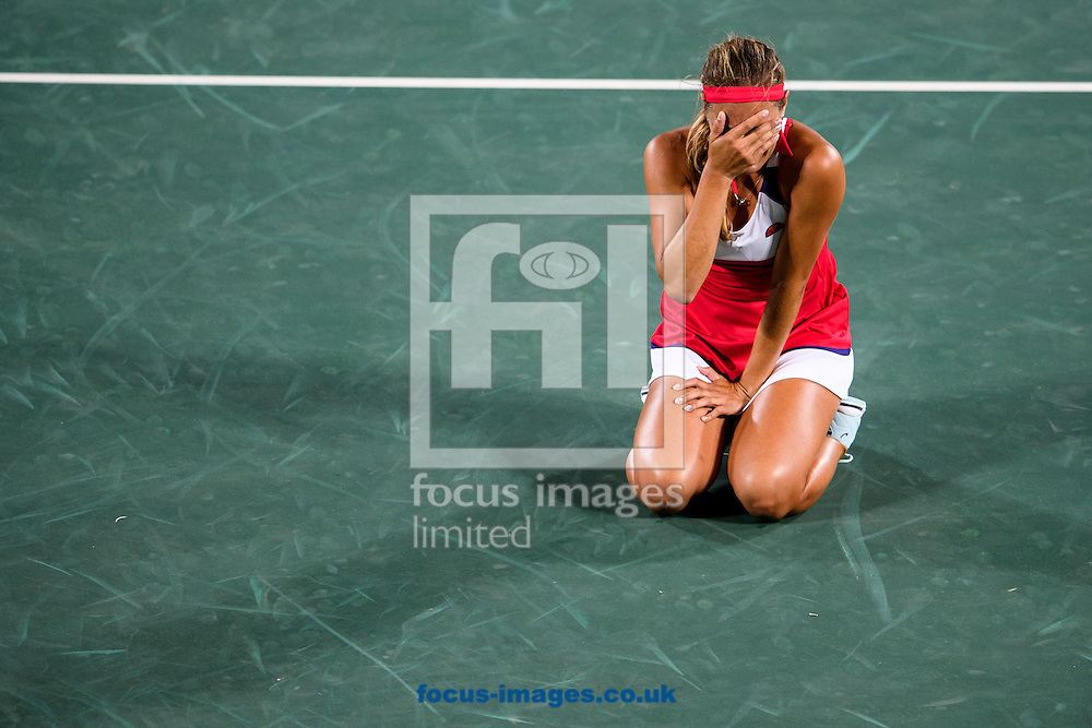 Monica Puig of Puerto Rico wins the Gold Medal in the Women's Tennis Singles on day eight of the XXXI 2016 Olympic Summer Games in Rio de Janeiro, Brazil.<br /> Picture by EXPA Pictures/Focus Images Ltd 07814482222<br /> 13/08/2016<br /> *** UK &amp; IRELAND ONLY ***<br /> <br /> EXPA-EIB-160814-0015.jpg
