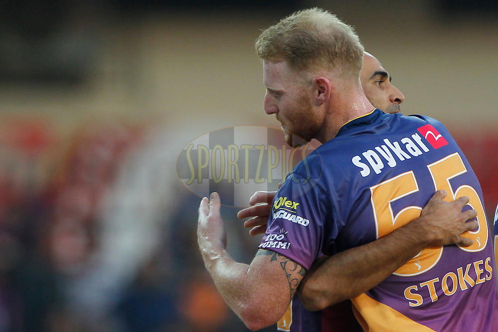 Imran Tahir of Rising Pune Supergiant and Ben Stokes of Rising Pune Supergiant celebrates the wicket of Wriddhiman Saha of Kings XI Punjab during match 4 of the Vivo 2017 Indian Premier League between the Kings X1 Punjab and the rising Pune Supergiant held at the Holkar Cricket Stadium in Indore, India on the 8th April 2017<br /> <br /> Photo by Deepak Malik - IPL - Sportzpics