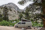 Volkswagon Eurovan Camper in Onion Valley Campground in the Sierra Nevada west of Independence, California, USA. A spectacular hike leads from here through John Muir Wilderness in Inyo National Forest over Kearsarge Pass into Kings Canyon National Park.
