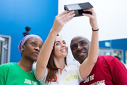 "© Licensed to London News Pictures . 01/03/2016 . Manchester , UK . Hollyoaks actress JENNIFER METCALFE (posing for selfies with fans) launches a national fundraiser , "" The Better Bike Challenge "" from the East Manchester Leisure Centre in Beswick . The Challenge features 10,000 people cycling one-mile , each donating £1 to #TeamBetter for Sport Relief . Photo credit : Joel Goodman/LNP"