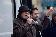 """About 40 right-wing activists of islamophobic """"Freie Buerger fuer Frankfurt"""" (formerly PEGIDA) are rallying in the german city of Frankfurt am Main, activist Michael Mannheimer (Karl-Heinz Merkle) is holding a speech."""