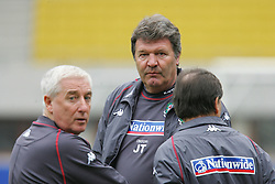 VIENNA, AUSTRIA - TUESDAY MARCH 29th 2005: Wales' manager John Toshack with assistant Roy Evans during a training session at the Ernst Happel Stadium ahead of their World Cup Qualifying Group Six match against Austria. (Pic by David Rawcliffe/Propaganda)