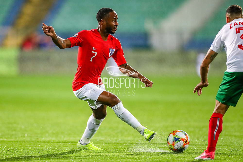 England forward Raheem Sterling crosses the ball and England midfielder Ross Barkley scores a goal during the UEFA European 2020 Qualifier match between Bulgaria and England at Stadion Vasil Levski, Sofia, Bulgaria on 14 October 2019.
