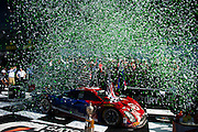 January 22-25, 2015: Rolex 24 hour. 02, Ford EcoBoost, Riley DP, P, Scott Dixon, Tony Kanaan, Kyle Larson, Jamie McMurray in victory lane