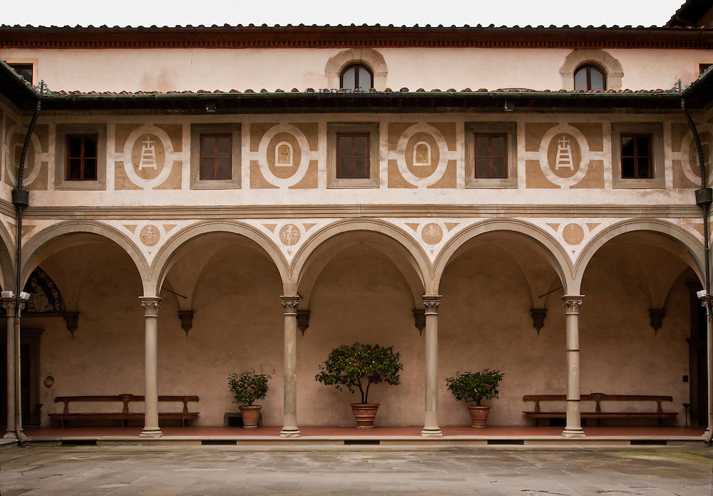 Early Renaissance architecture: the key figure is Filippo Brunelleschi.  His Ospedale degli Innocenti (Foundling Hospital, (1419-ca.1445), is the first major monument of his elegant classical style with its arches and colonnades.  This is the courtyard inside, its serene colonnade arching over a potted orange tree.