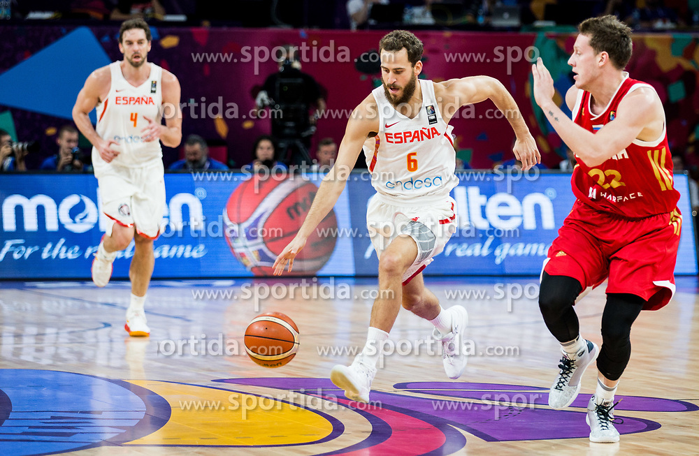 Sergio Rodriguez of Spain vs Dmitrii Kulagin of Russia during basketball match between National Teams  Spain and Russia at Day 18 in 3rd place match of the FIBA EuroBasket 2017 at Sinan Erdem Dome in Istanbul, Turkey on September 17, 2017. Photo by Vid Ponikvar / Sportida