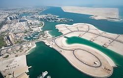 Land reclamation for property development in Abu Dhabi, UAE, United Arab Emirates