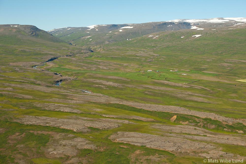 Mássel séð til vesturs, Fljótsdalshérað áður Hlíðarhreppur /  Massel viewing west, Fljotsdalsherad former Hlidarhreppur.