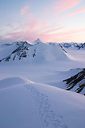 The route up a previously unclimbed mountain during a British mountaineering expedition to Knud Rasmussens Land, East Greenland, Arctic, 2006.