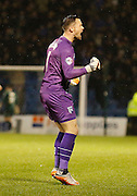 Gillingham FC goalkeeper Stuart Nelson Celebrates Gillingham FC's Emmanuel Osadeberather impressive solo goal to make it 3-1 during the Sky Bet League 1 match between Gillingham and Bury at the MEMS Priestfield Stadium, Gillingham, England on 14 November 2015. Photo by Andy Walter.