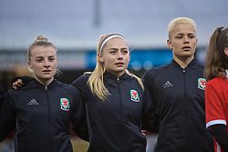 NEWPORT, WALES - Thursday, April 4, 2019: Wales players line-up before an International Friendly match between Wales and Czech Republic at Rodney Parade. Kylie Nolan, Charlie Estcourt, Grace Horrell. (Pic by David Rawcliffe/Propaganda)