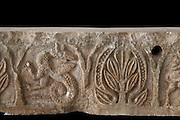 Fragment of carved stone frieze with a fantastic creature with bird's head, serpent's tail and wings and a tree, originally from Fier, from the National Museum of Medieval Art, Korce, Albania. Picture by Manuel Cohen