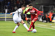 Marcus Browne (10) of Middlesbrough on the attack challenged by Connor Roberts (23) of Swansea City during the EFL Sky Bet Championship match between Swansea City and Middlesbrough at the Liberty Stadium, Swansea, Wales on 14 December 2019.