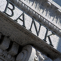 Detail of the word Bank on a Washington, DC bank building.