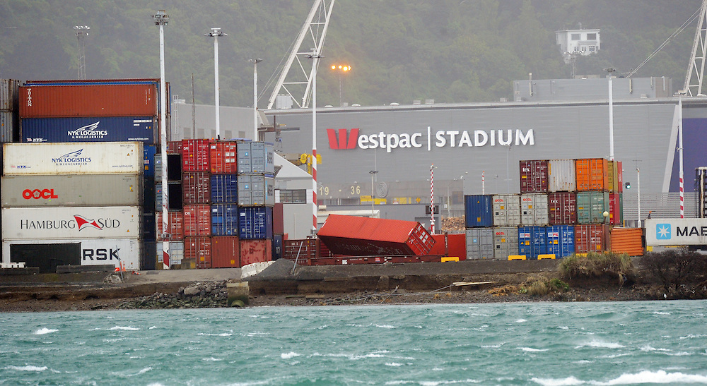 Containers blown over at Centreport as winds lashed the capital, Wellington, New Zealand, Monday, October 14, 2013. Credit:SNPA / Ross Setford