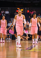 Aug 8, 2010; Phoenix, AZ, USA; Phoenix Mercury guard Diana Taurasi reacts during the first half at US Airways Center.  Mandatory Credit: Jennifer Stewart-US PRESSWIRE.