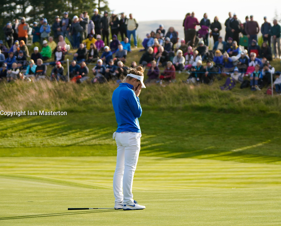 Auchterarder, Scotland, UK. 15 September 2019. Sunday final day at 2019 Solheim Cup on Centenary Course at Gleneagles. Pictured; Anne Van Dam dejected after missing putt on the 18th green to give Lizette Salas of USA victory. Iain Masterton/Alamy Live News