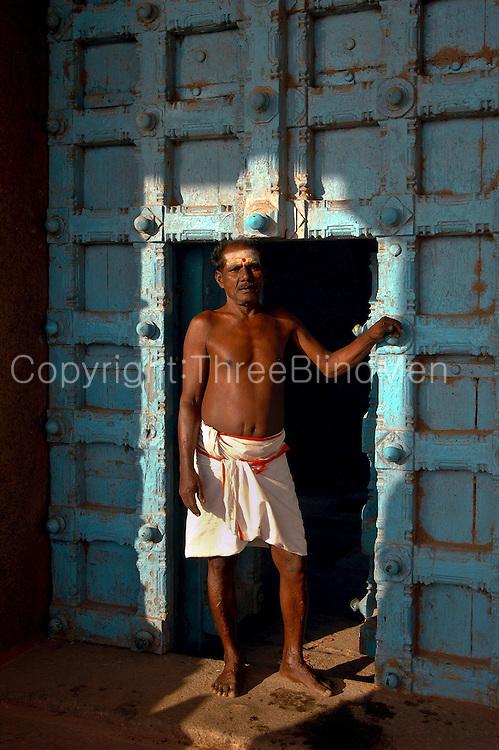 Standing in a temple doorway. Kanyakumari Hindu Temple.