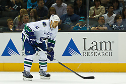 Sep 29, 2011; San Jose, CA, USA; Vancouver Canucks defenseman Andrew Alberts (41) before a face off against the San Jose Sharks during the first period at HP Pavilion.  San Jose defeated Vancouver 3-0. Mandatory Credit: Jason O. Watson-US PRESSWIRE