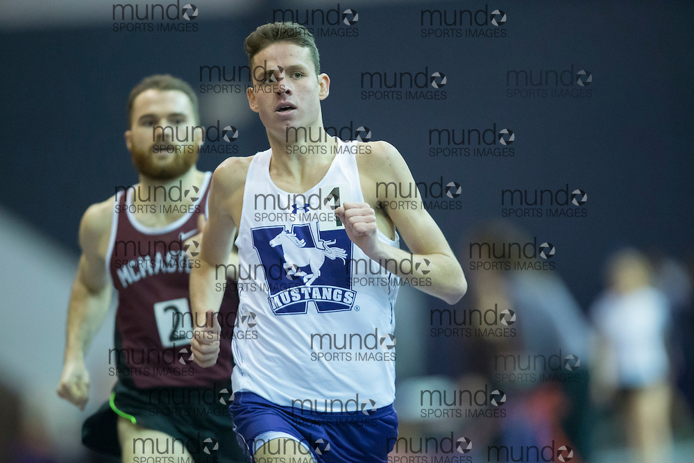 Jack Sheffar of the Western Mustangs runs to a new arena record of 3:47.55 in the Men's 1500m at the 2017 Don Wright Meet in London, Ontario, January 21, 2017.<br />
