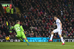 Halbfinale im Liga-Pokal Liverpool vs Leeds 1:0 in Liverpool / 291116<br /> <br /> ***LIVERPOOL, ENGLAND 29TH NOVEMBER 2016:<br /> Leeds United forward Chris Wood right scores a disallowed goal past Liverpool goalkeeper Simon Mignolet during the English League Cup soccer match between Liverpool and Leeds at Anfield Stadium in Liverpool England November 29th 2016***
