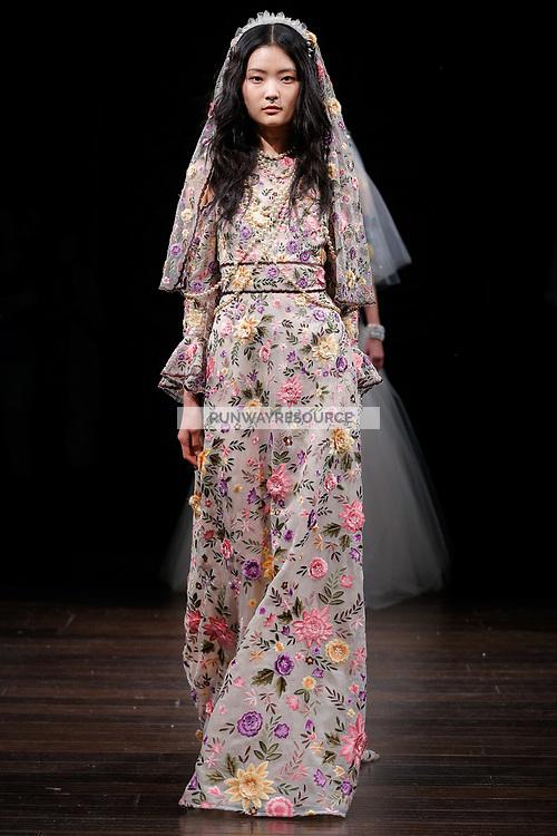 Somin Park walks the runway wearing Naeem Khan Bridal Spring 2018