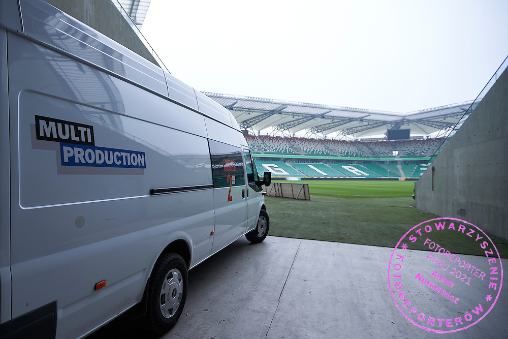 TV broadcast production by Multiproduction at Legia's stadium on February 15, 2015 in Warsaw, Poland<br /> <br /> Picture also available in RAW (NEF) or TIFF format on special request.<br /> <br /> For editorial use only. Any commercial or promotional use requires permission.<br /> <br /> Mandatory credit:<br /> Photo by &copy; Adam Nurkiewicz / Mediasport