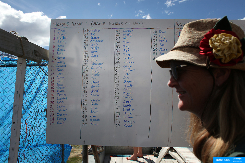 The riders board during the 50th Anniversary Glenorchy Race meeting. The races, which originally started in the 1920's, were resurrected in 1962 and have been run by local farmers and the rugby club on the first Saturday after New Years Day ever since. Glenorchy, Otago, New Zealand. 7th January 2012