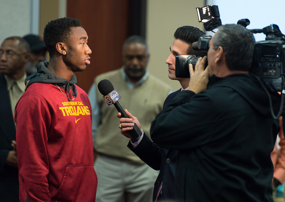 Lamar's John Plattenburg (USC) talks with media during a National Signing Day ceremony at the Region 4 Education Center, February 5, 2014.