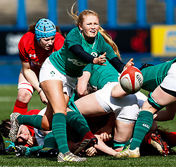 Kathryn Dane of Ireland  gets the ball away<br /> <br /> Photographer Simon King/Replay Images<br /> <br /> Six Nations Round 5 - Wales Women v Ireland Women- Sunday 17th March 2019 - Cardiff Arms Park - Cardiff<br /> <br /> World Copyright © Replay Images . All rights reserved. info@replayimages.co.uk - http://replayimages.co.uk