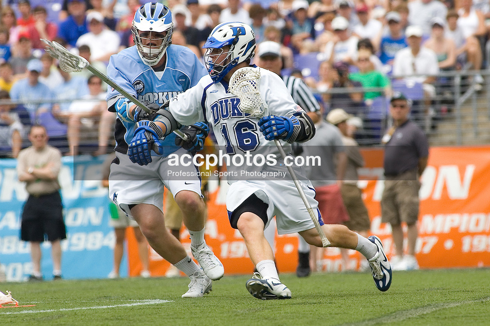 28 May 2007: Duke Blue Devils attackman Max Quinzani (16) in a 11-12 loss to the Johns Hopkins Blue Jays at M&T Bank Stadium during the NCAA finals in Baltimore, MD.
