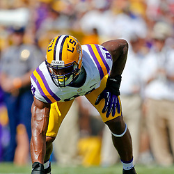 Oct 12, 2013; Baton Rouge, LA, USA; LSU Tigers defensive end Danielle Hunter (94) against the Florida Gators during the first quarter of a game at Tiger Stadium. Mandatory Credit: Derick E. Hingle-USA TODAY Sports