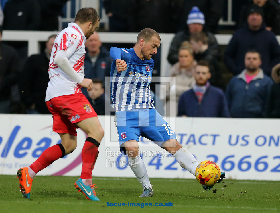 Lewis Alessandra (r) of Hartlepool United and Charlie Lee of Stevenage during the Sky Bet League 2 match at Victoria Park, Hartlepool<br /> Picture by Simon Moore/Focus Images Ltd 07807 671782<br /> 21/01/2017