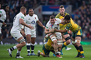 Twickenham, United Kingdom, Saturday, 24th  November 2018, RFU, Rugby, Stadium, England, No 8 Mark WILSON's run, brought to a halt by the Australian defenders, during the Quilter Autumn International, England vs Australia, © Peter Spurrier