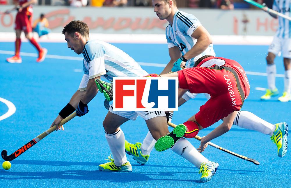 BHUBANESWAR - The Odisha Men's Hockey World League Final . Match ID 03. Argentina v Belgium. Diego Paz (Arg) with Florent van Aubel (Bel)  WORLDSPORTPICS COPYRIGHT  KOEN SUYK