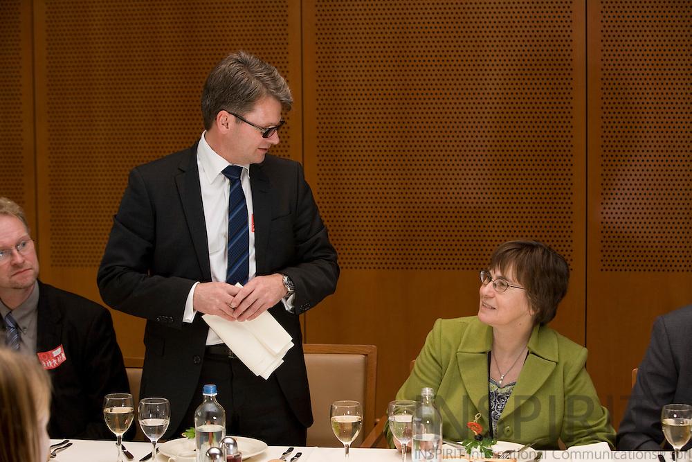 BRUSSELS - BELGIUM - 12 NOVEMBER 2008 -- Danish MEP Anne E. JENSEN (Le) and Steen Reeslev (Ri), Director for Communication at A.P. Møller - Mærsk (A.P. Moeller - Maersk). Photo: Erik Luntang.