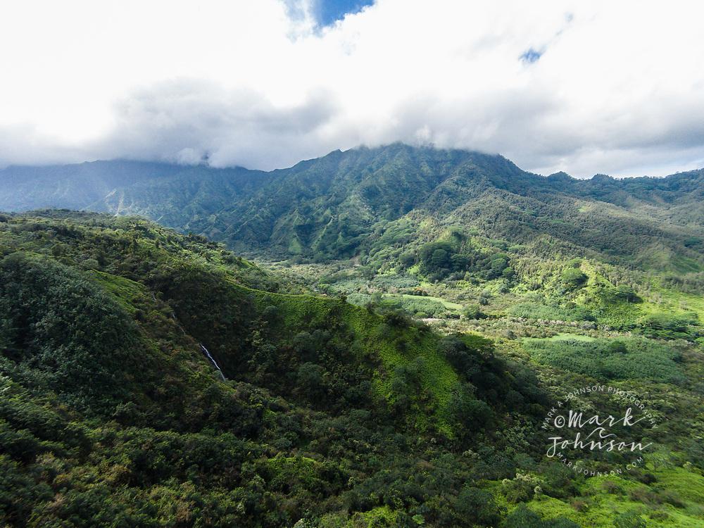 Aerial photograph of Hanalei Valley from the Powerline Road, Hanalei, Kauai, Hawaii