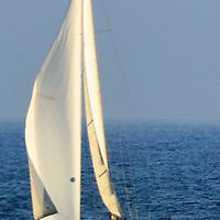 A boat sails south at Santa Monica Bay on Friday, March 30, 2012.