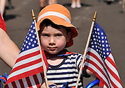 July 4, 2013:  Celebrants in the Palo Verde Neighborhood participate in the 50th annual Fourth of July parade to celebrate the anniversary of the independence of the United States in Tucson, Arizona, USA.  Matheo Richman, 4, rode his bike in the parade..