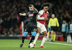 Elseid Hysaj of Napoli and Alex Iwobi of Arsenal tussle for the ball - Mandatory by-line: Arron Gent/JMP - 11/04/2019 - FOOTBALL - Emirates Stadium - London, England - Arsenal v Napoli - UEFA Europa League Quarter Final 1st Leg