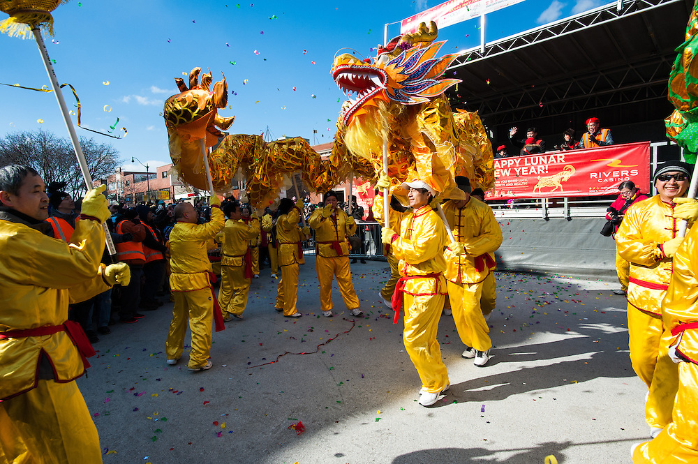 Dragon dancers perform during the grand finale of the Chinatown Lunar New Year Parade in Chicago on February 22, 2015.