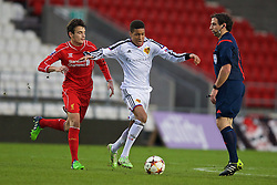 LIVERPOOL, ENGLAND - Tuesday, December 9, 2014: FC Basel's Charles Pickel in action against Liverpool's Pedro Chirivela during the UEFA Youth League Group B match at Langtree Park. (Pic by David Rawcliffe/Propaganda)