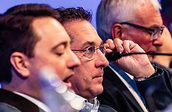 06.04.2019, Design Center, Linz, AUT, 34. Ordentlicher Landesparteitag der FPÖ Oberösterreich, im Bild v.l.: FPÖ Landes-Parteiobmann Manfred Haimbuchner, FPÖ Bundesparteiobmann Vizekanzler Heinz Christian Strache // f.l.: FPÖ State Party Chairman Manfred Haimbuchner, FPÖ Federal Party Chairman Vice Chancellor Heinz Christian Strache  during the 34th Ordinary party convention of the FPÖ Upper Austria at the Design Center in Linz, Austria on 2019/04/06. EXPA Pictures © 2019, PhotoCredit: EXPA/ JFK