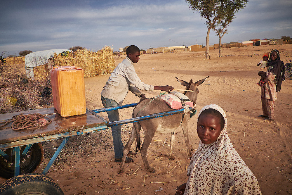 A boy delivers water at a camp of displaced people in the neighbourhood of Chateau, Diffa, Niger on February 13, 2016. The camp is mixed between displaced people from Niger, Nigeria and Chad. They have fled attacks by the militant group Boko Haram on their villages and it's ongoing conflicts with the armies of each country. Caritas undertook a distribution of mosquito nets, cooking pots, sleeping covers, hygiene kits, clothes and cash transfers to the displaced. 228 households received support from Caritas among an estimated 1500 households in the  vicinity of Chateau. There is still great need. There is no school system in place for the children and the housing is not adequate for many as more people arrive each day escaping hostilities.
