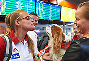 Warsaw, Poland - 2017 October 03: (L) Monika Ciaciuch (RTW LOTTO Bydgostia) Polish rower W4- smiles while welcome of Polish Rowing National Team at Chopin Airport on October 03, 2017 in Warsaw, Poland.<br /> <br /> Mandatory credit:<br /> Photo by &copy; Adam Nurkiewicz / Mediasport<br /> <br /> Adam Nurkiewicz declares that he has no rights to the image of people at the photographs of his authorship.<br /> <br /> Picture also available in RAW (NEF) or TIFF format on special request.<br /> <br /> Any editorial, commercial or promotional use requires written permission from the author of image.