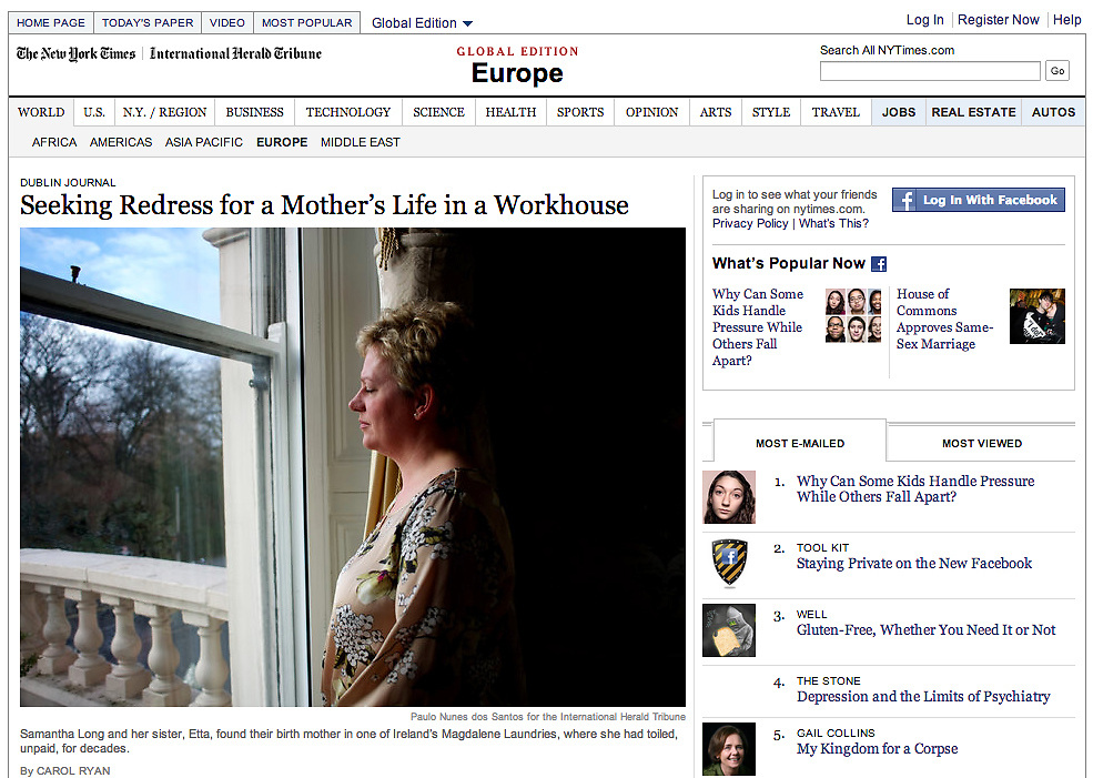 "Screengrab of ""Ireland's Magdalene Laundries"" published in International Herald Tribune/NYT"