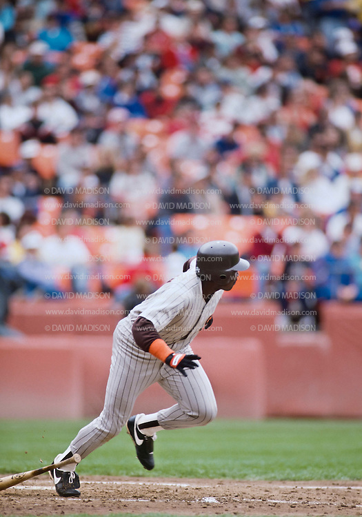 SAN FRANCISCO  -  APRIL 1990:  Tony Gwynn of the San Diego Padres runs to first base during a Major League Baseball game against the San Francisco Giants played during April 1990 at Candlestick Park in San Francisco, California.  Photo by David Madison/Getty Images) *** Local Caption *** Tony Gwynn