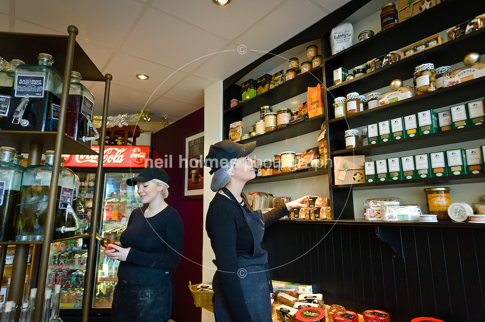 Riches Sandwich Bar & Deli, Hallgate. Rayleigh Barber (correct) and Sarah Blundell working in the extensive shop.