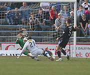 Kyle Letheren saves from Fouad Bachirou - Greenock Morton v Dundee, SPFL Championship at Cappielow<br /> <br />  - &copy; David Young - www.davidyoungphoto.co.uk - email: davidyoungphoto@gmail.com